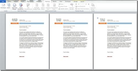 word  mail merge learning microsoft office package