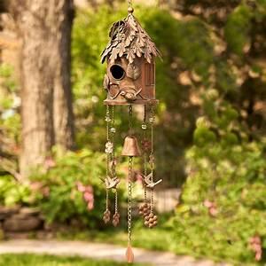 Antique, Copper, Hanging, Birdhouse, Wind, Chime, U0026quot, Silo