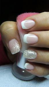 French manicure with silver glitter | Variedad | Pinterest ...