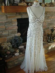 Vintage 1920s style beaded embroidered lace wedding for Vintage beaded lace wedding dress