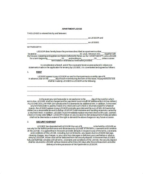 Apartment Lease Agreement Template Business 3 Apartment Lease Templates Free Sle Exle