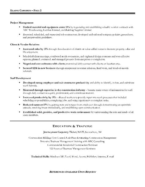residential construction manager resume