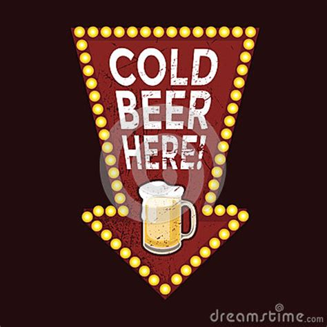 vintage metal sign cold beer  stock vector image