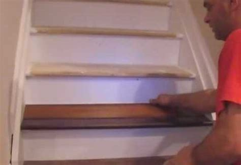 installing laminate on stairs with nosing how to install laminate on stairs askmediy