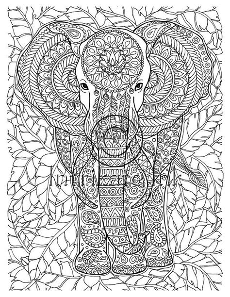 elephant coloring page animal coloring wild detailed