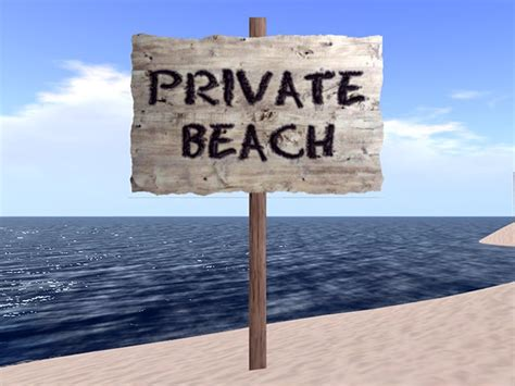 Second Life Marketplace  Private Beach Sign Driftwood