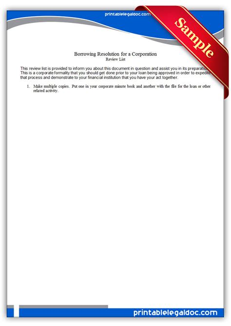 printable borrowing resolution   corporation form