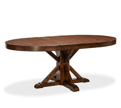 benchwright extending pedestal dining table pottery barn