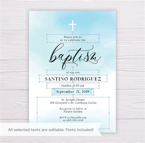 Blue Watercolor Baptism Invitation Template Dgtally