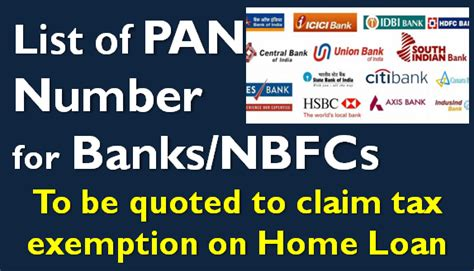 list  pan number  banks