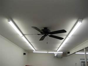 Garage ceiling fan with light hidden blades