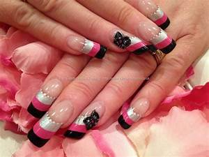 Silver, pink and black striped nail art with 3D acrylic ...