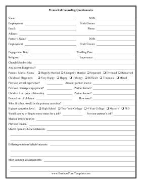 this printable questionnaire is for couples who are seeking premarital counseling free to