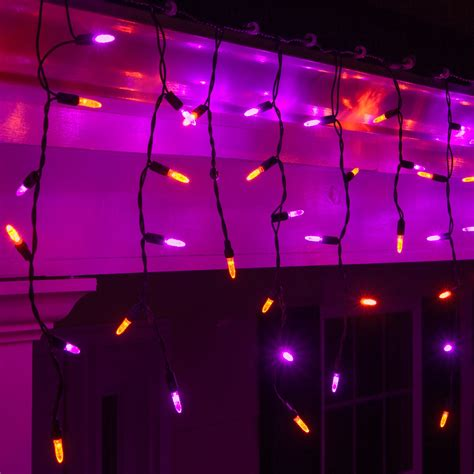 led christmas lights   purple orange led icicle