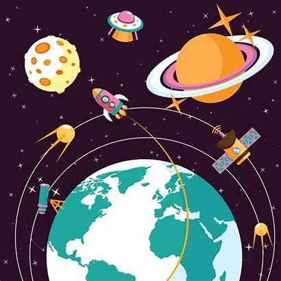Space Flat Vector Illustration Rocket Orbit System