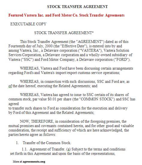 stock transfer agreement sample stock transfer agreement