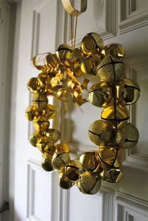 golden jingle bell wreath pictures   images