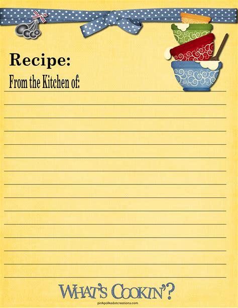 8 x 11 recipe card template