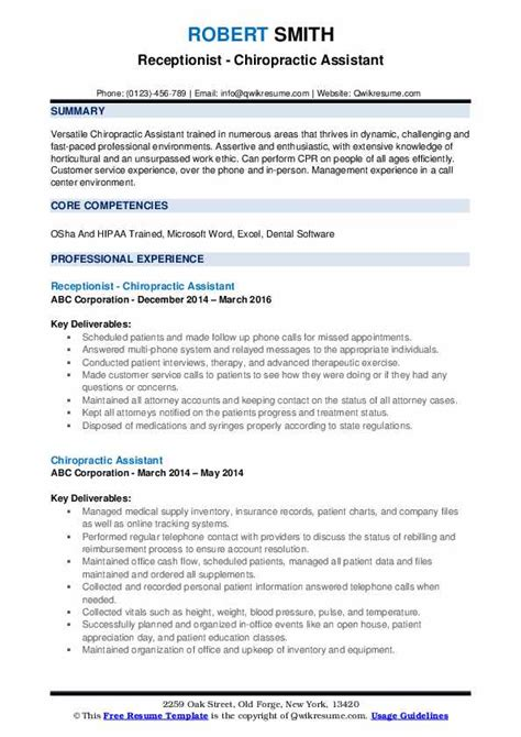 Chiropractic Assistant Resume Sle by Chiropractic Assistant Resume Sles Qwikresume