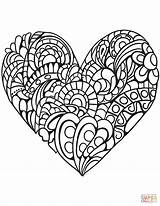 Coloring Heart Pages Zentangle Printable Drawing Paper Puzzle Colorings sketch template