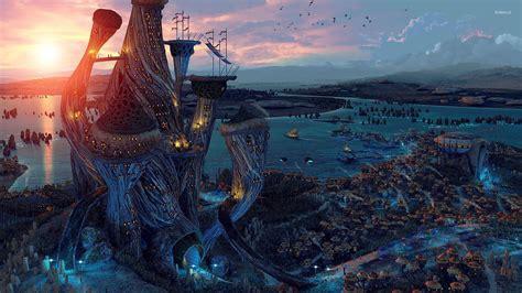 fantasy city wallpaper widescreen
