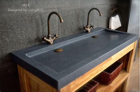 mm double trough grey granite stone bathroom basin yate
