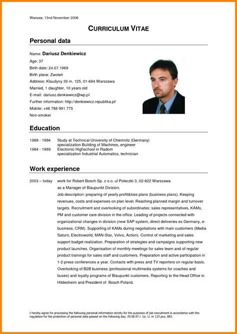 Resume And Curriculum Vitae Exles by 7 Curriculum Vitae Theorynpractice