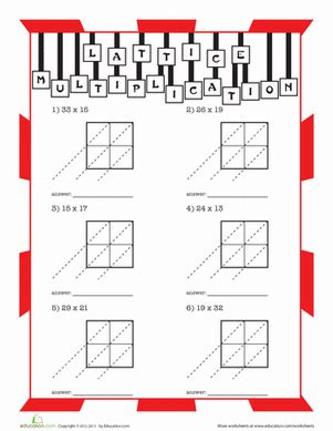 lattice multiplication worksheet education