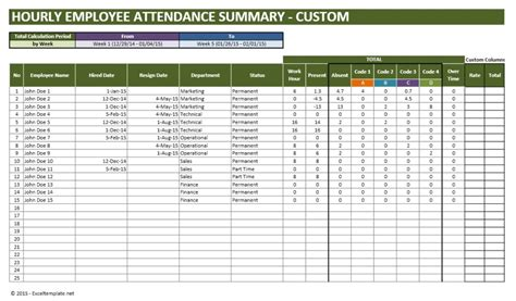 time and attendance tracking template employee vacation planner