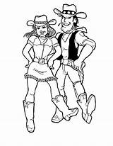 Coloring Cowgirl Dance Step Ten Doing Play sketch template