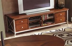 Meuble Tv Fer : meuble tv bas en bois et fer forg alki ~ Teatrodelosmanantiales.com Idées de Décoration