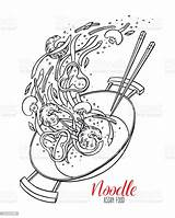 Wok Chinese Sketch Noodles Pan Vector Illustration Thai Clip Culture China Illustrations Royalty Takeout Asia East Istockphoto sketch template