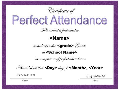 sample perfect attendance certificate templates
