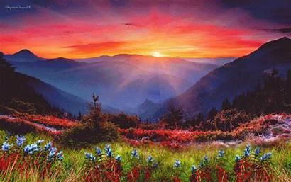 Mountain Sunrise Nature Sunset Flowers Mountains Spring