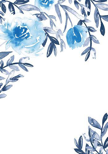 watercolor floral frame  blue  indigo handpainted