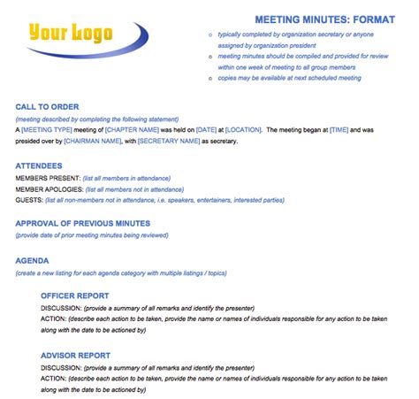 Minute Formats Templates by Free Meeting Minutes Template For Microsoft Word