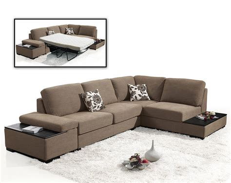 brown suede fabric sectional sleeper sofa with end table