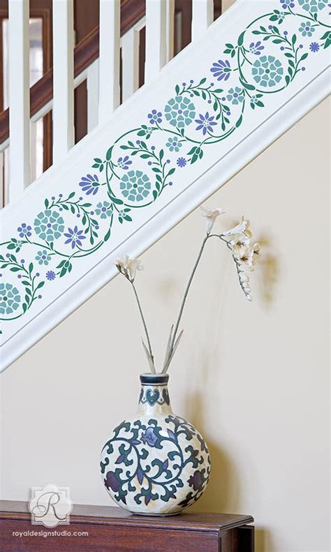 indian flower wall furniture border stencil royal