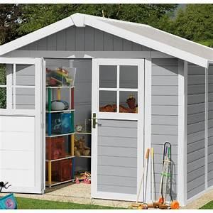 abri de jardin en pvc 49m2 deco gris clair et blanc With abri de jardin resine grosfillex