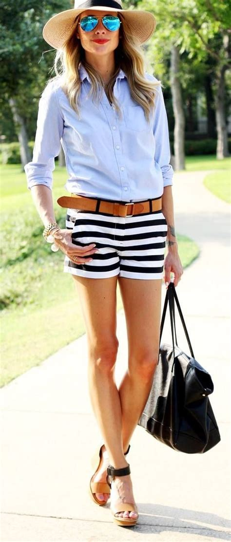Striped Shorts blue shirts hat black handbag. Summer women fashion outfit clothing style ...