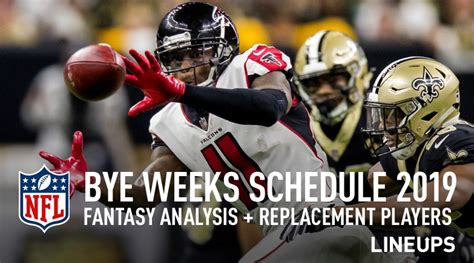 nfl bye weeks  bye weeks schedule fantasy football