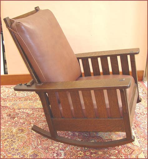 voorhees craftsman mission oak furniture replica slatted reclining morris rocker from an