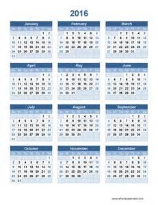 2016 Year Calendar Template