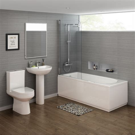 Bath With Shower by 1700x700mm Cesar Shower Bath Suite