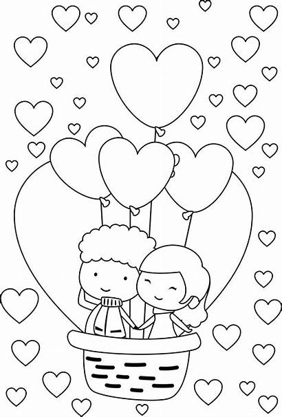 Coloring Pages Couple Balloon Valentine Young Couples