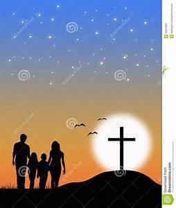 Christian Family At The Cross Stock Illustration - Image ...