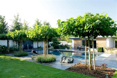 terrasse hö als garten 8606 dach platanen dienen als schattenspender neben der teichanlage schwimmteich outdoor decor