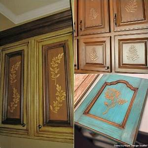20 diy cabinet door makeovers with furniture stencils for Kitchen colors with white cabinets with carved tree wall art