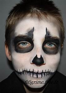 Maquillage Halloween Enfant Facile : le squelette maquillage artistique enfants adultes ~ Nature-et-papiers.com Idées de Décoration
