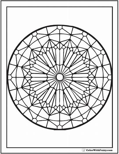 Coloring Glass Stained Kaleidoscope Adult Patterns Sheet